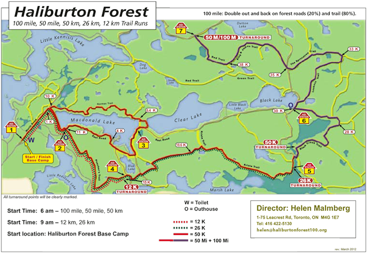 Haliburton Forest Trail Race Routenkarte