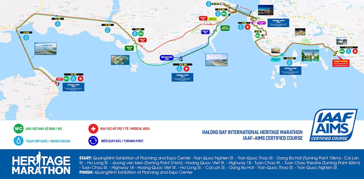 Halong Bay Heritage Marathon Route Map