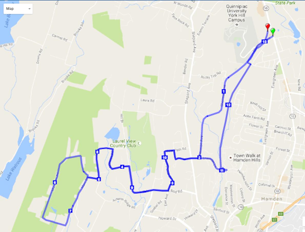 Hamden Hills Half Marathon & 5K 路线图