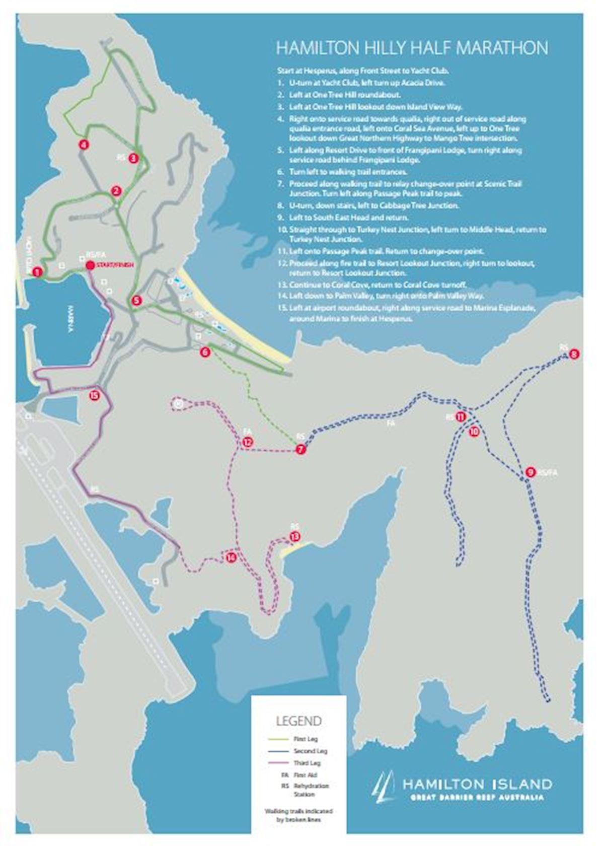 Hamilton Island Hilly Half Marathon MAPA DEL RECORRIDO DE