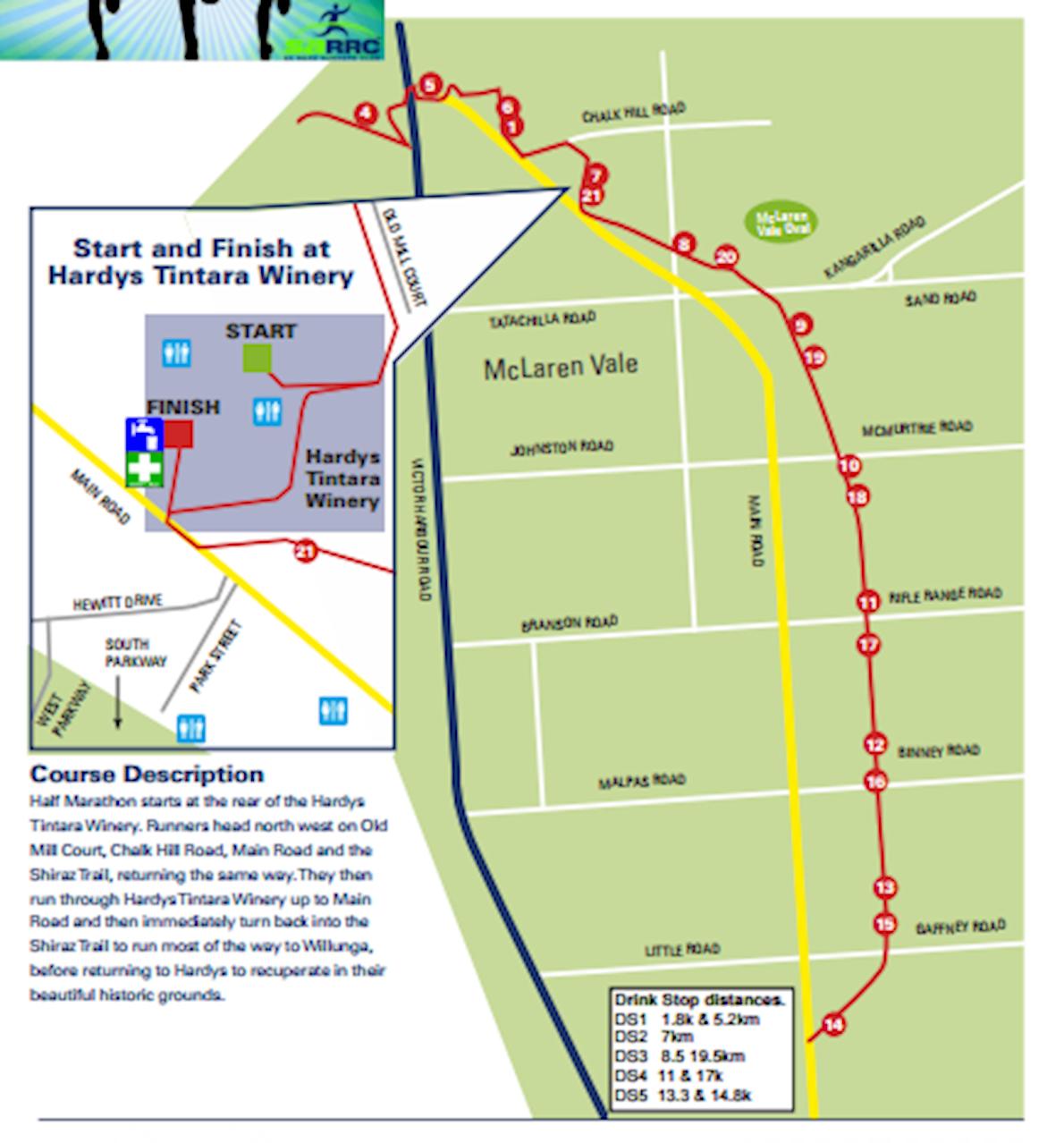 McLaren Vale Half Marathon Mappa del percorso