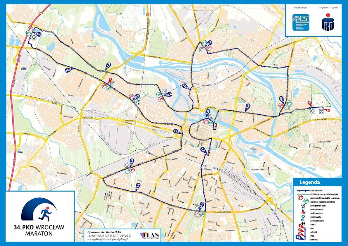 Maraton Wroclaw Mappa del percorso