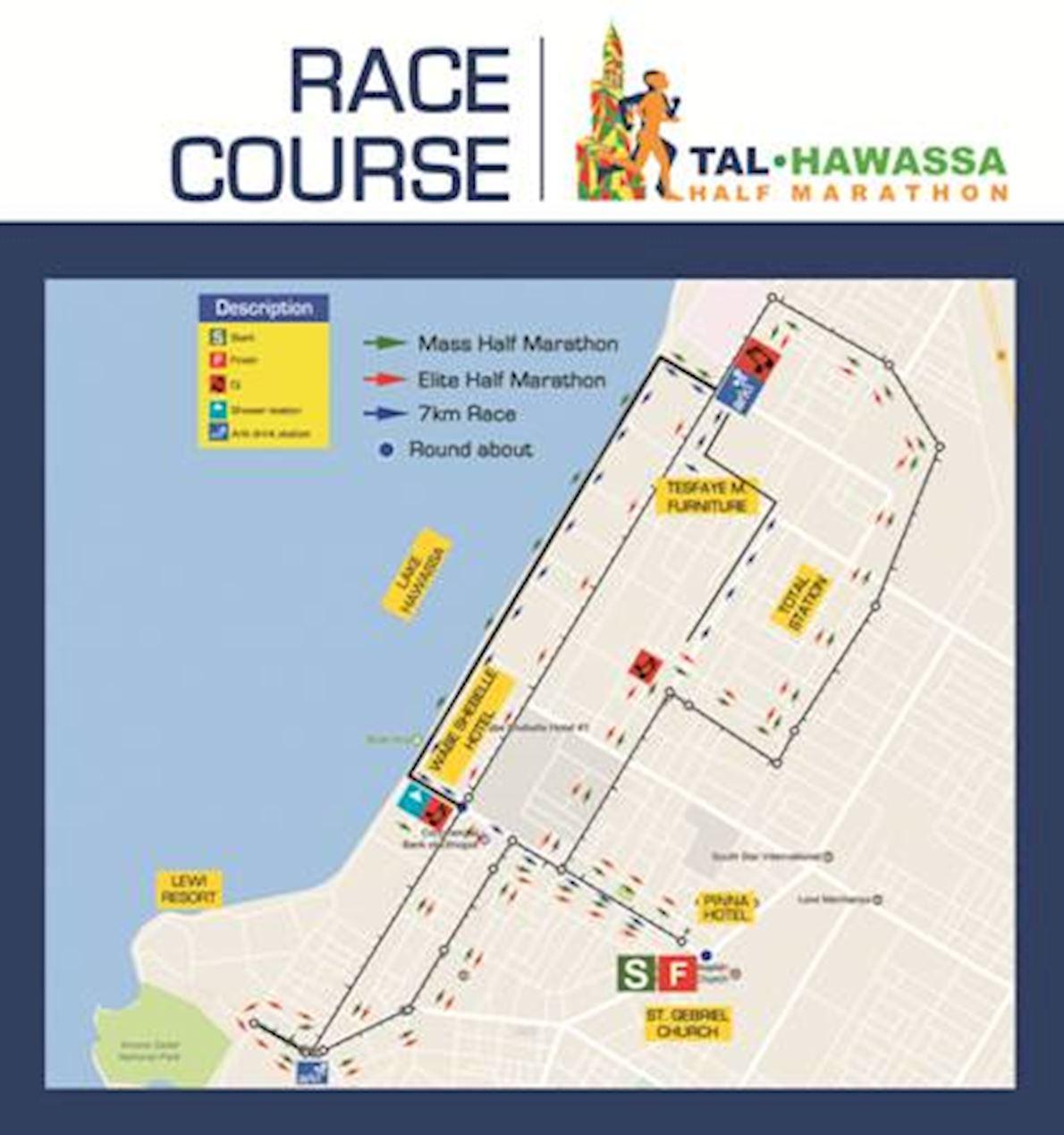 Hawassa Half Marathon Route Map