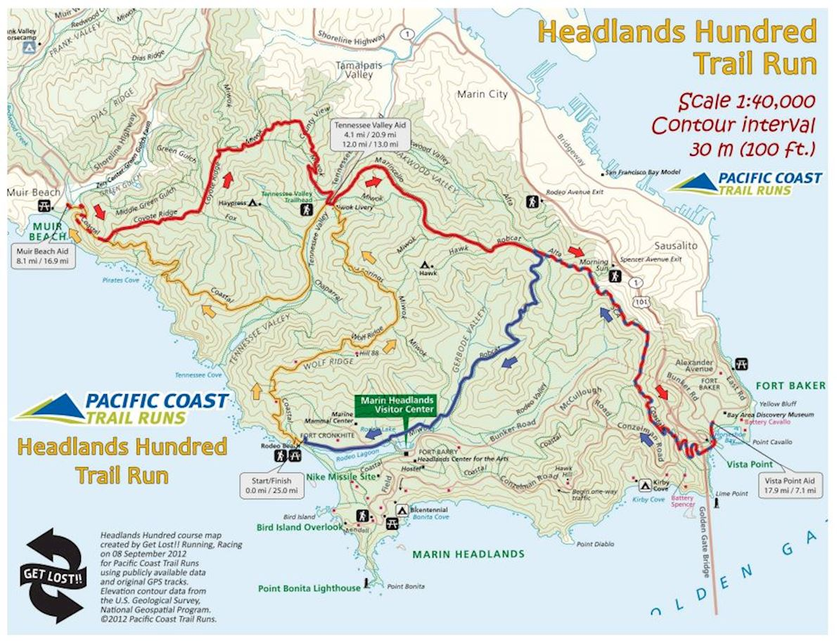 Headlands 50, 75 & 100 Route Map