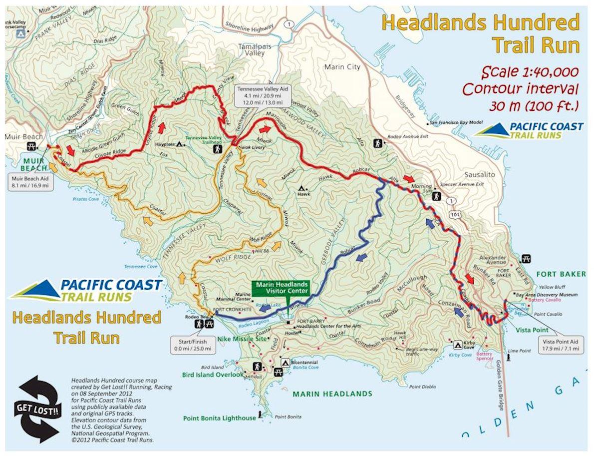 Headlands Marathon Mappa del percorso