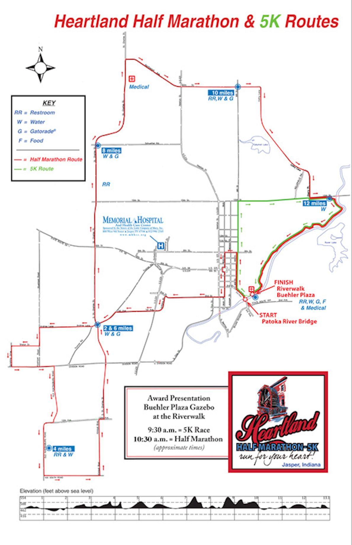 Heartland Half Marathon Route Map