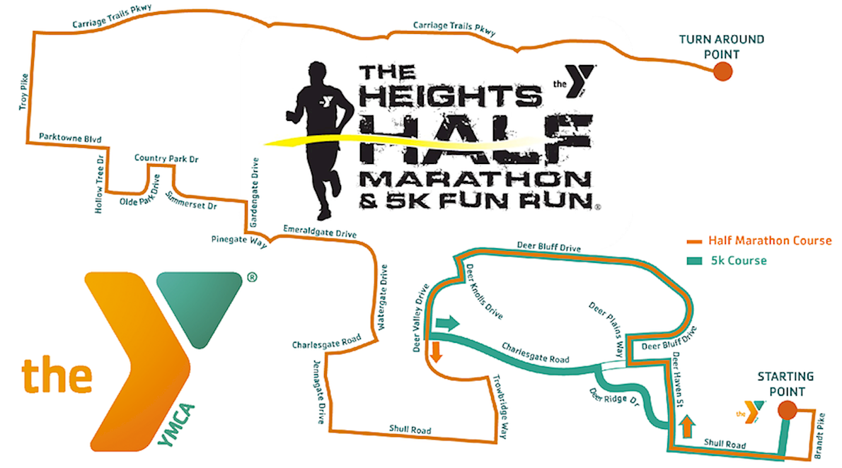 The Heights Half Marathon & 5K Fun Run MAPA DEL RECORRIDO DE