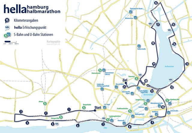 Hella Hamburg Half Marathon Route Map