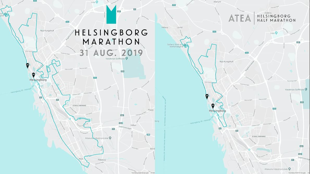 Helsingborg Marathon & Helsingborg Half Marathon Route Map