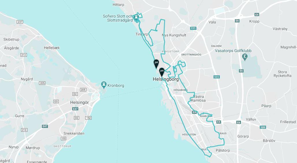Helsingborg Marathon & HOKA Helsingborg Half Marathon Route Map