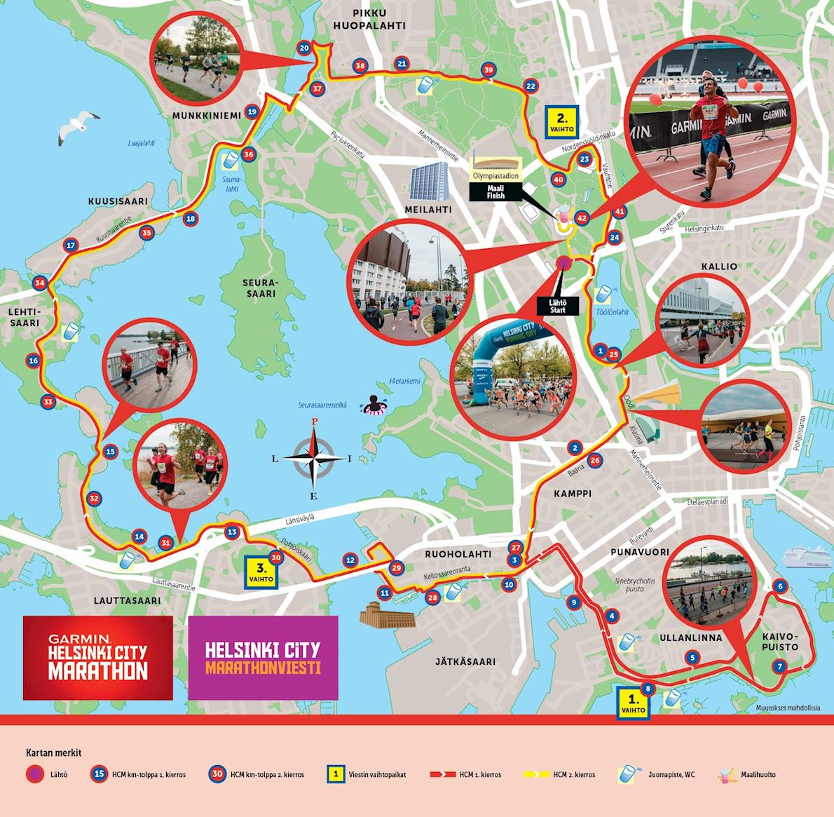 Helsinki City Running Day Route Map