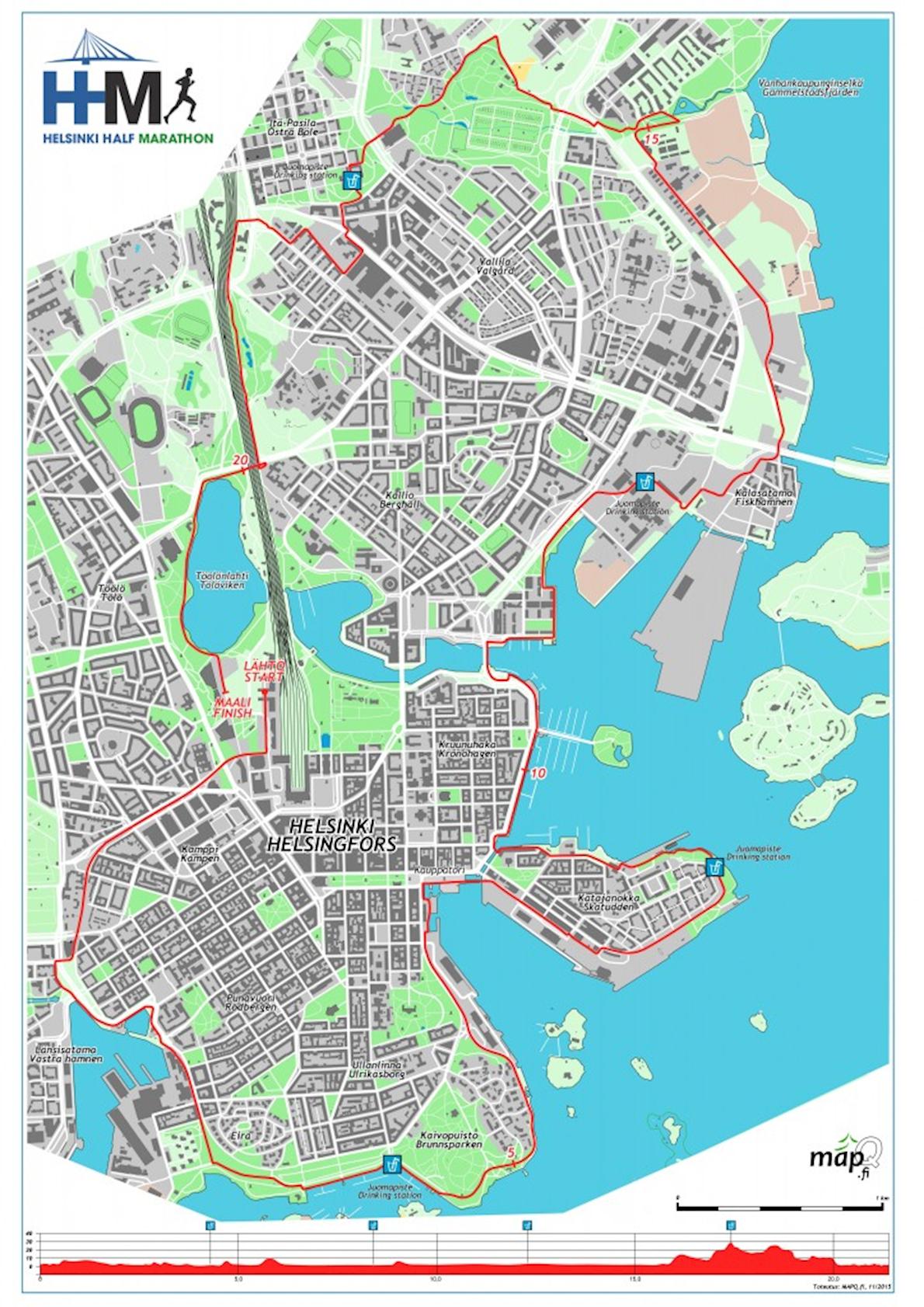 Helsinki Half Marathon Route Map