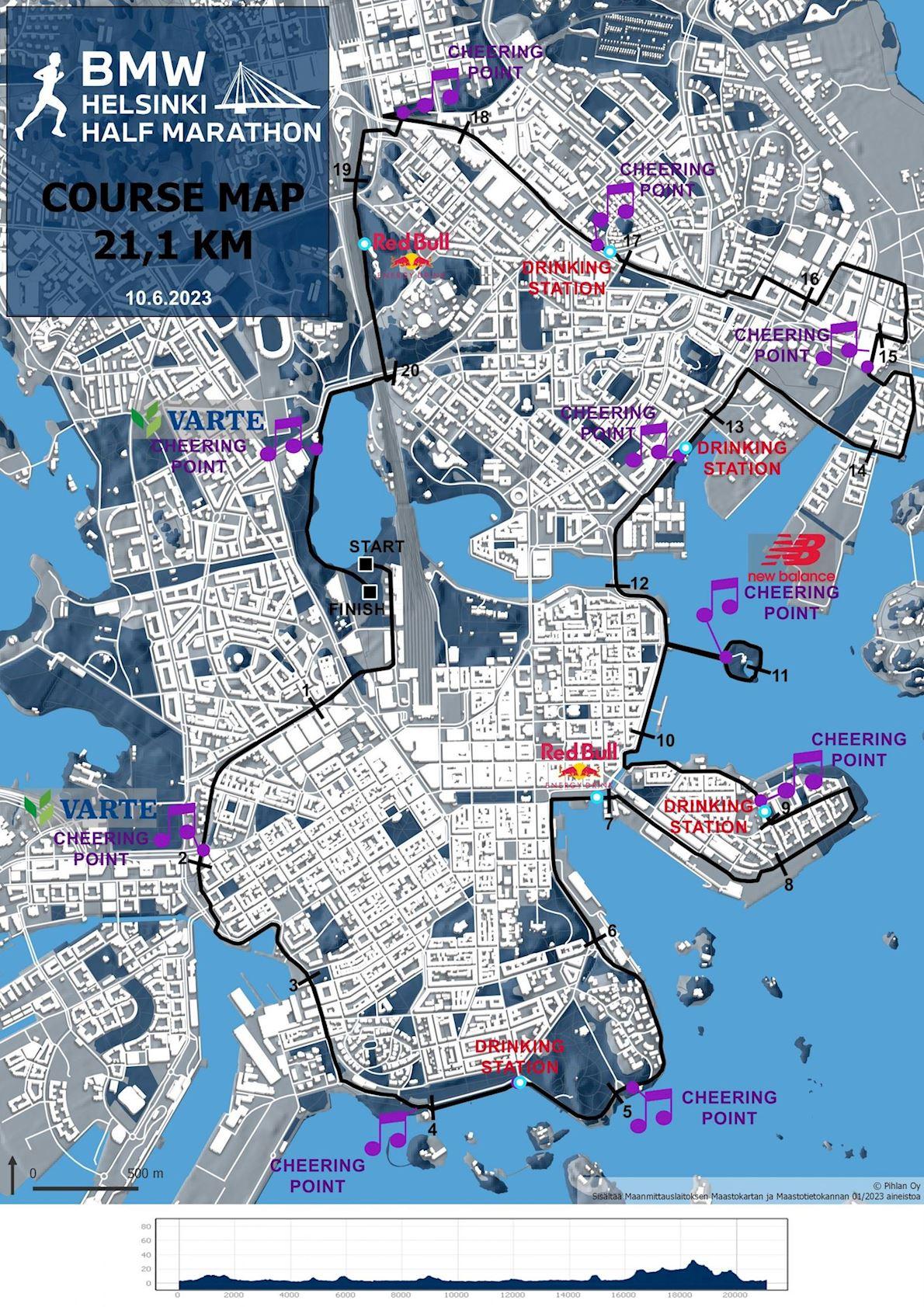 Helsinki Half Marathon Routenkarte