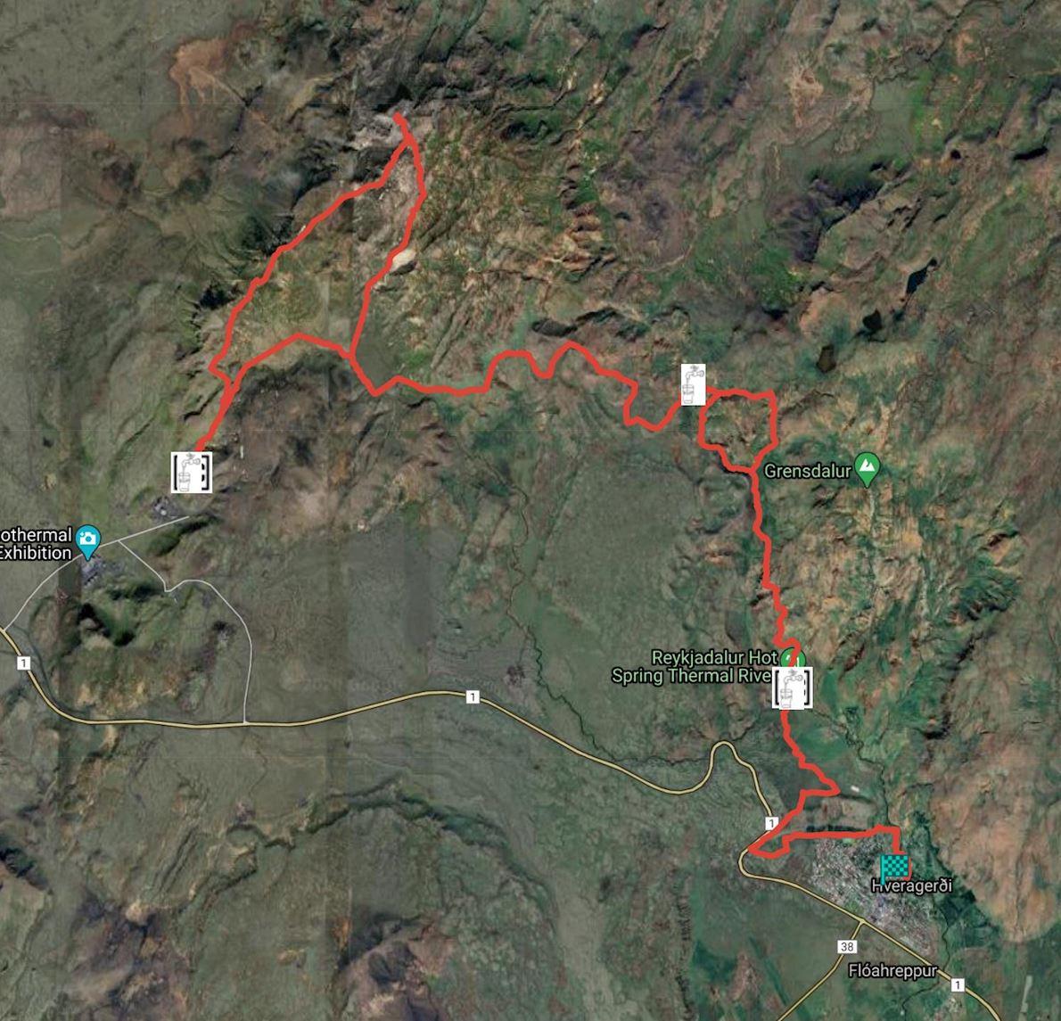 Hengill Ultra Trail 路线图