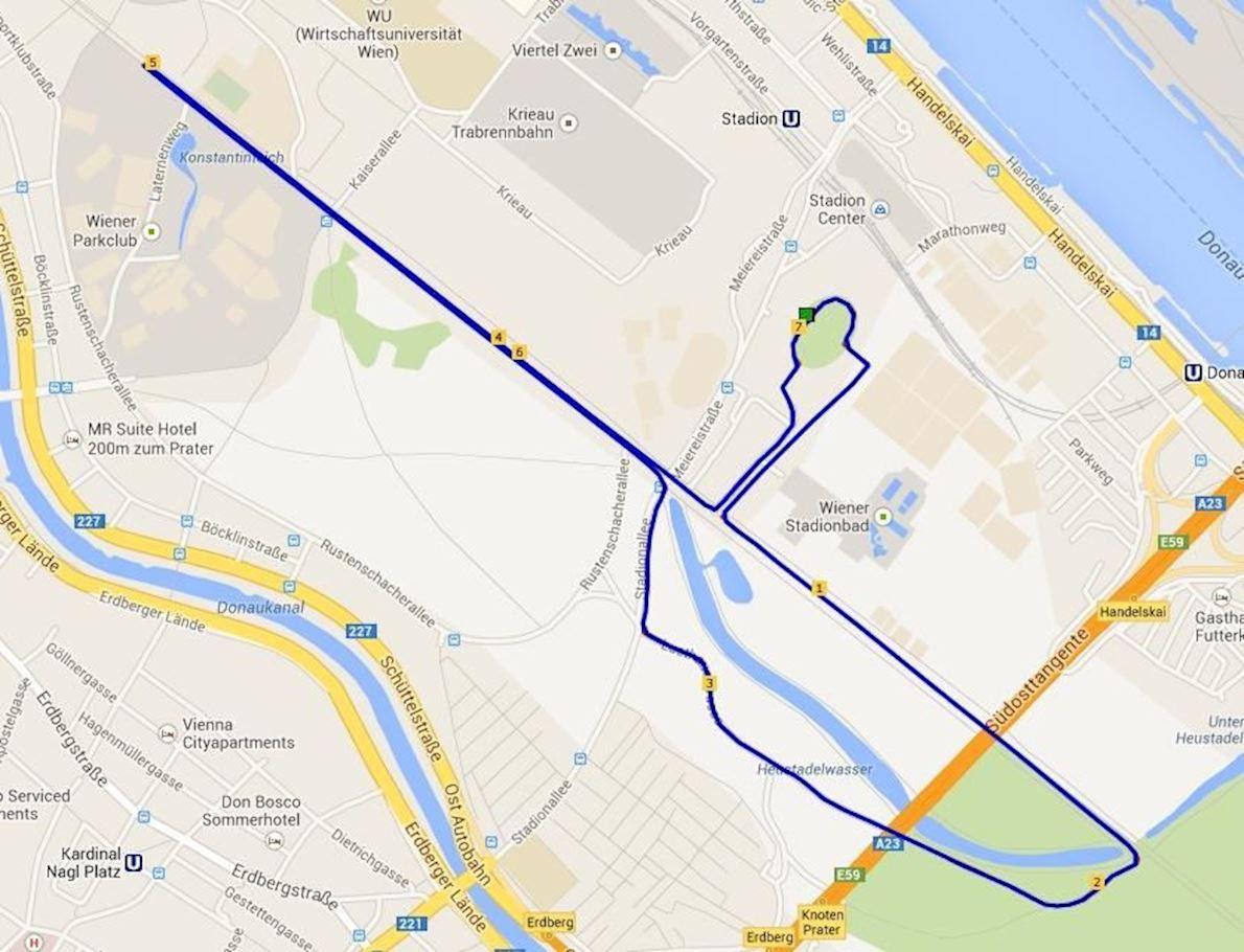 Herbstmarathon des LCC-Wien MAPA DEL RECORRIDO DE