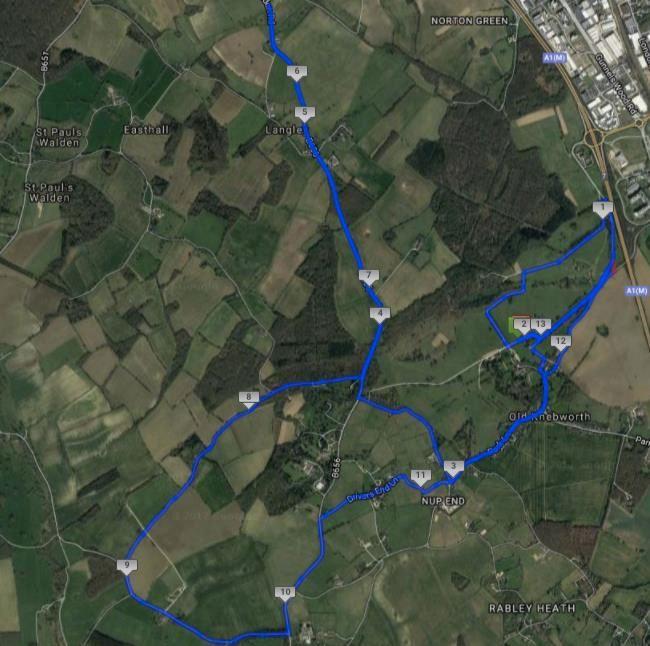 Hertfordshire Half Marathon Route Map