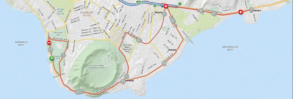 Hibiscus Half Marathon, 15K and 5 Miler Route Map