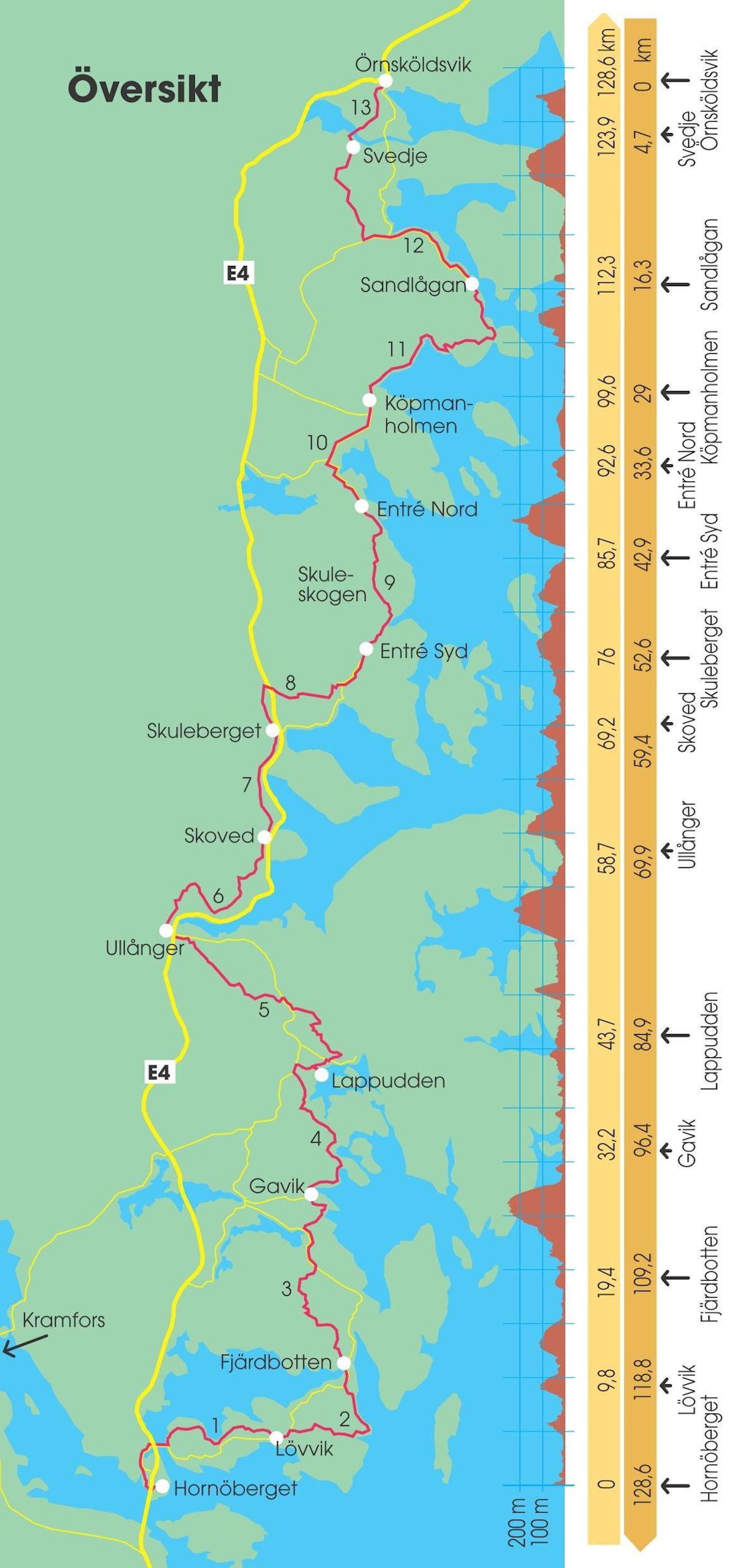 High Coast Ultra Worlds Marathons - Sweden terrain map