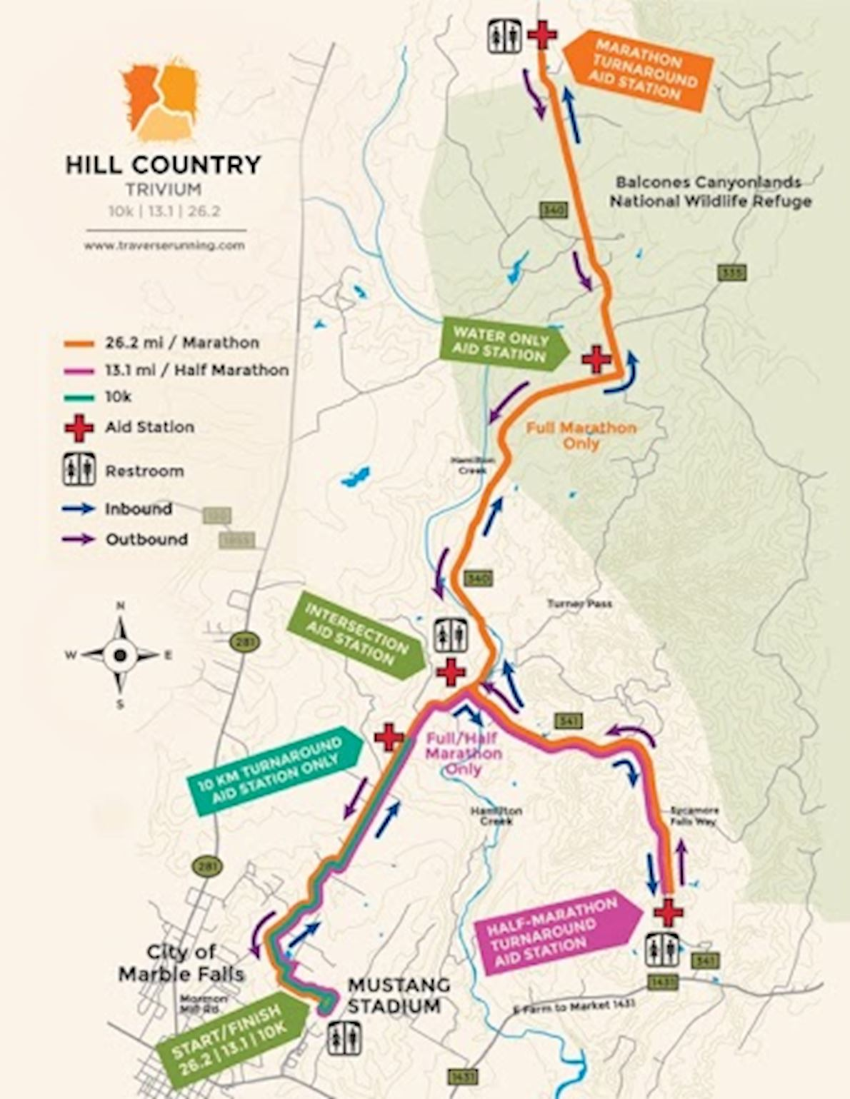 Hill Country Marathon 路线图