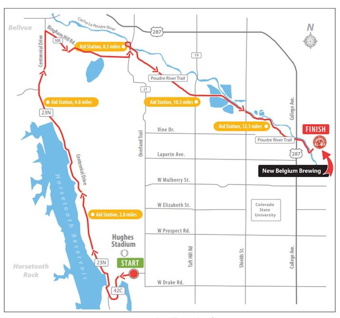 Horsetooth Half Marathon 路线图