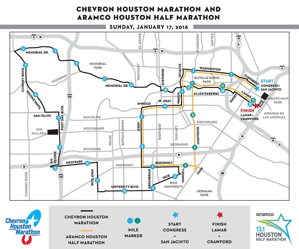 Houston Marathon Map Chevron Houston Marathon | World's Marathons