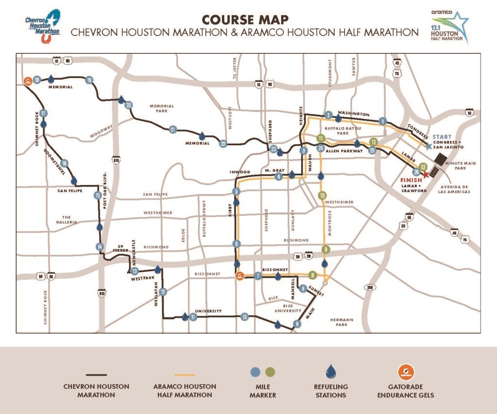 Chevron Houston Marathon Routenkarte