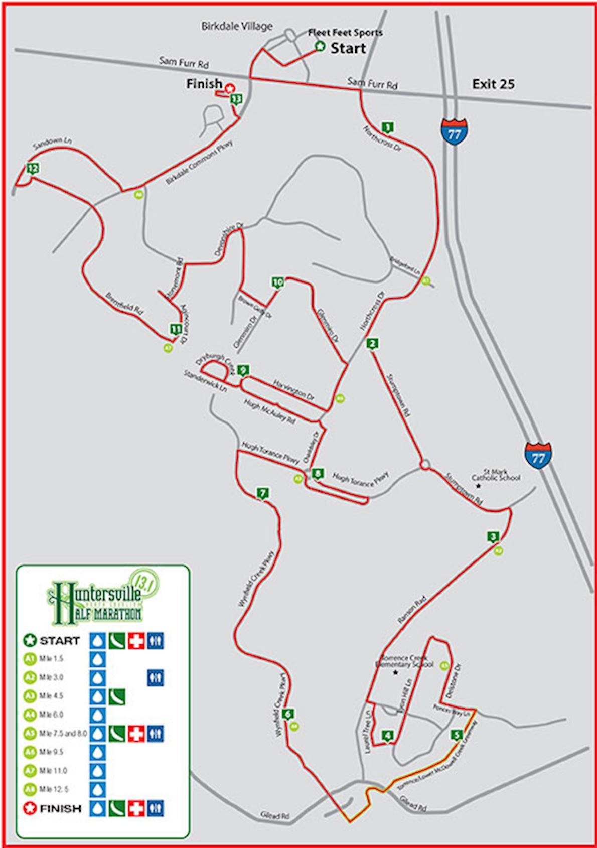 Huntersville Half Marathon Route Map