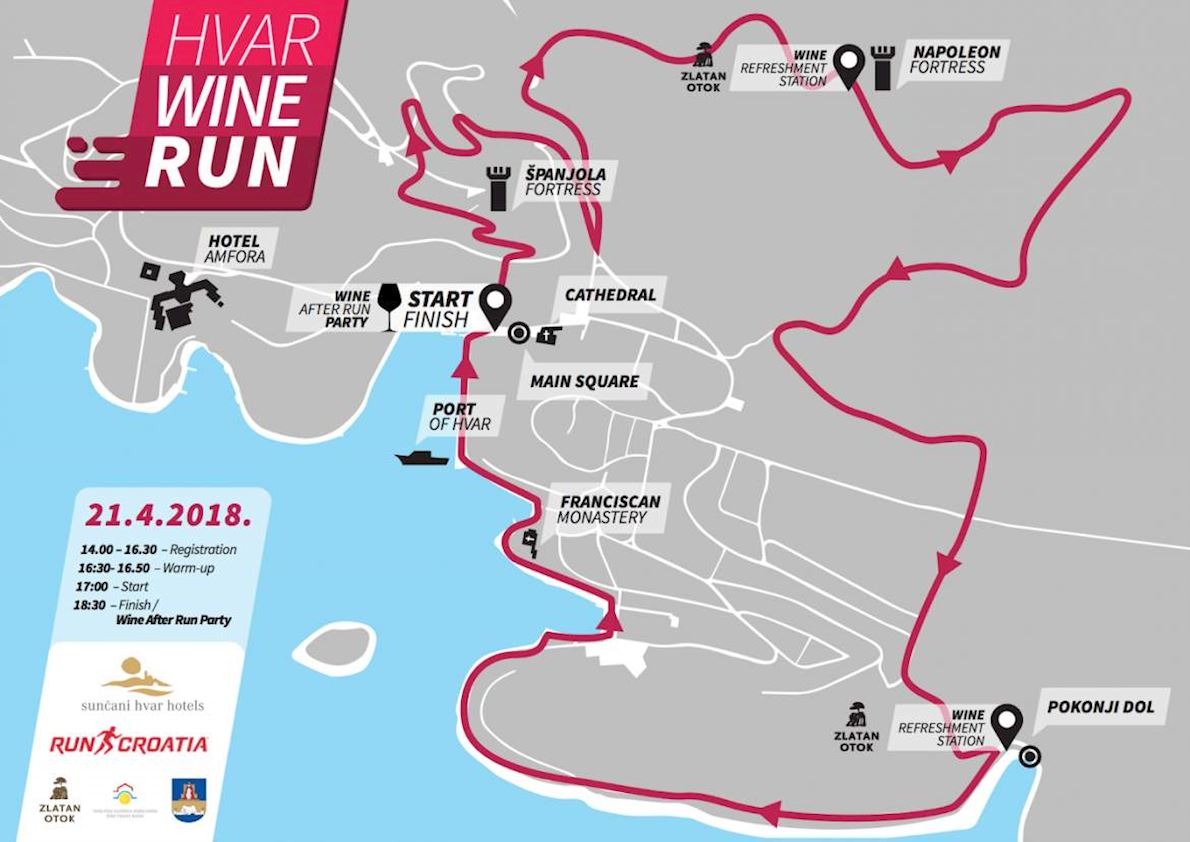 HVAR WINE RUN 路线图