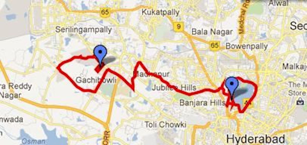 Hyderabad Marathon & Half Marathon Route Map