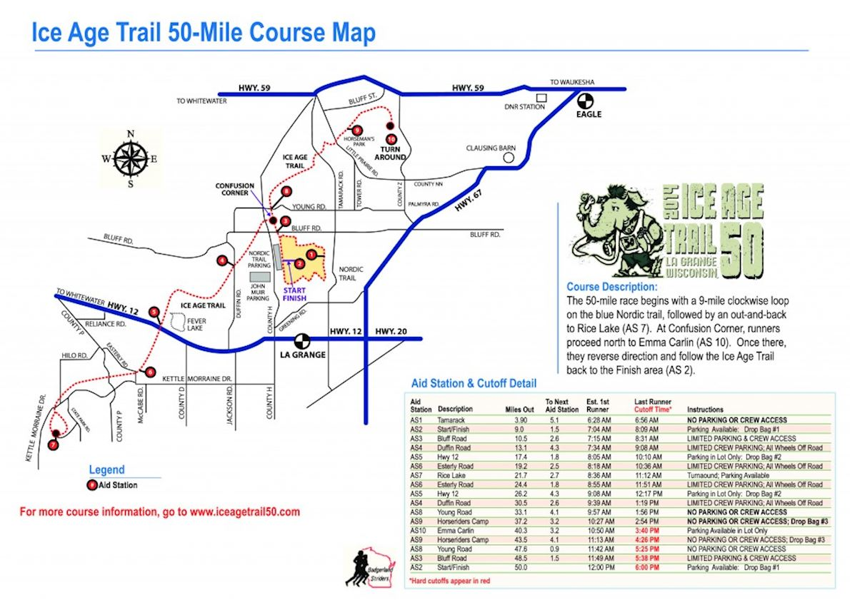 Ice Age Trail 50 Route Map