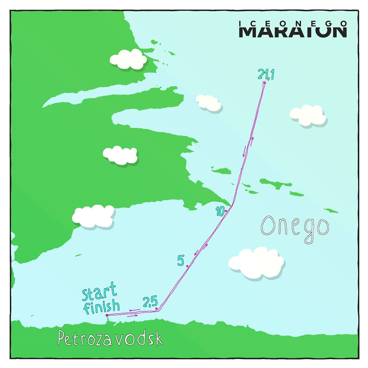 Ice Onego Maraton Route Map