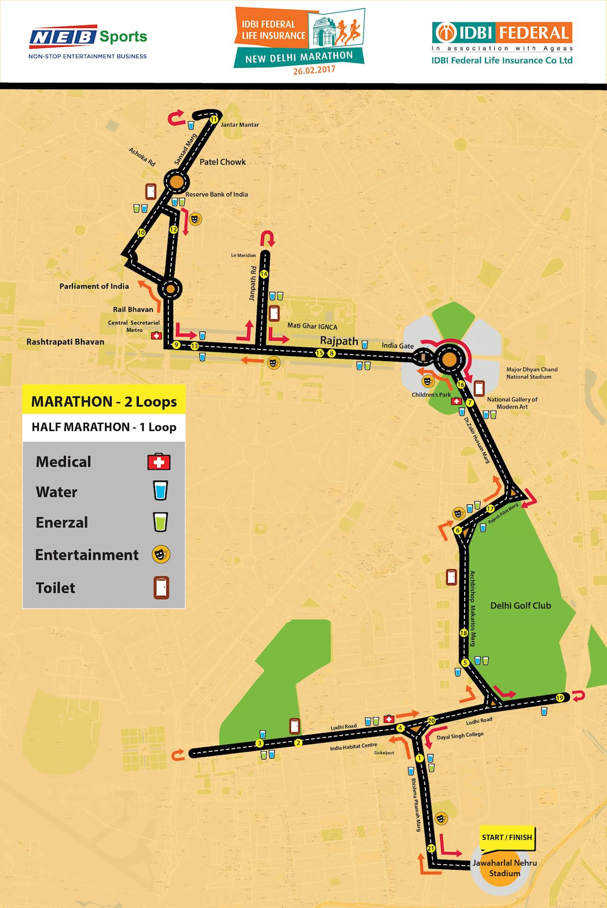 IDBI Federal Life Insurance New Delhi Marathon Route Map