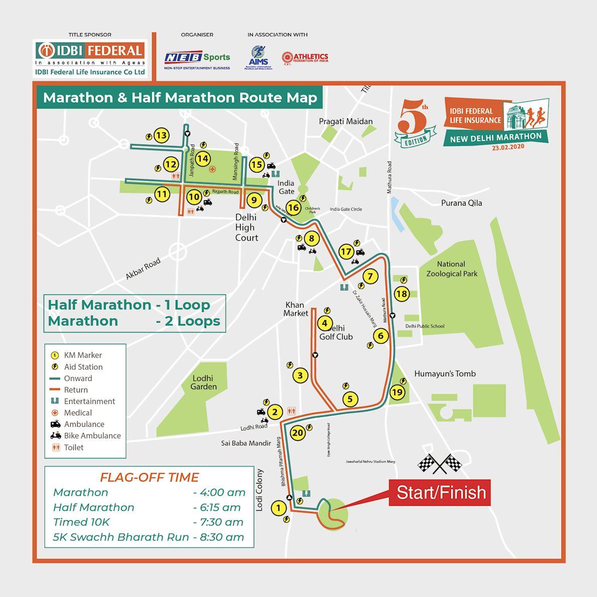 IDBI Federal Life Insurance New Delhi Marathon Route Map