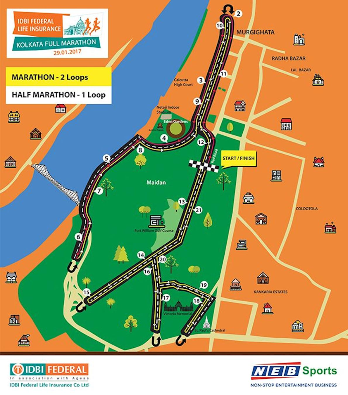 IDBI Federal Life Insurance Kolkata Full Marathon Route Map