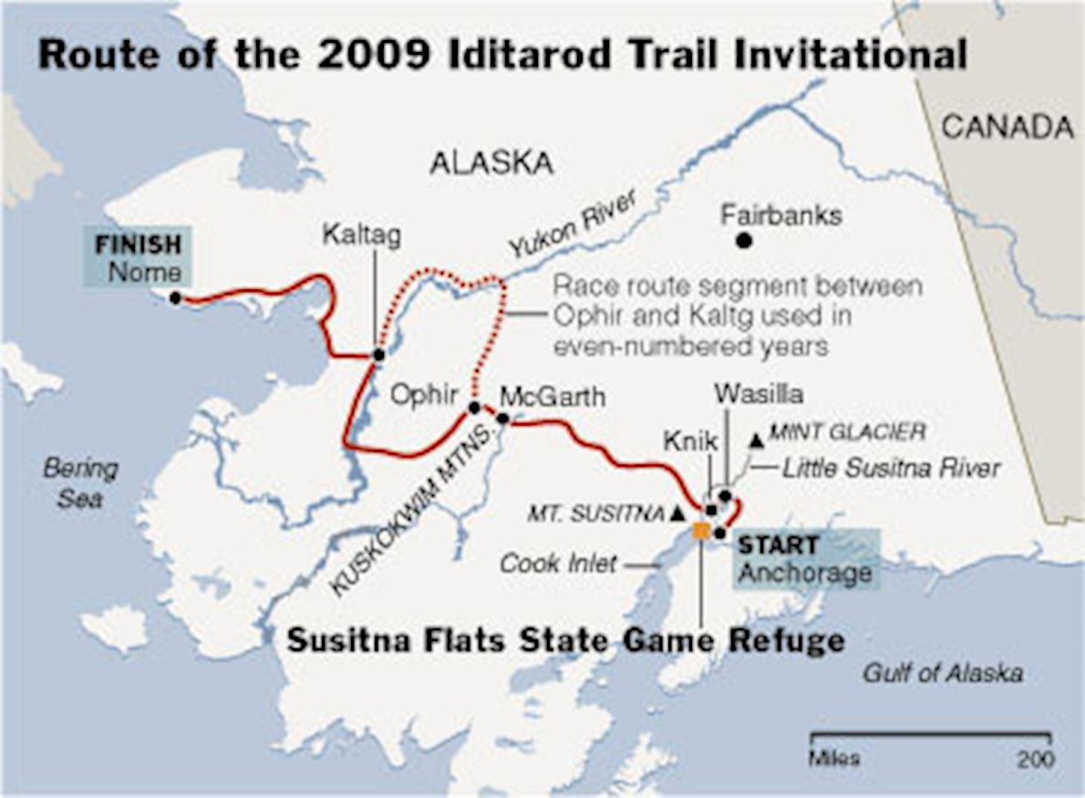 Iditarod Trail Invitational Route Map