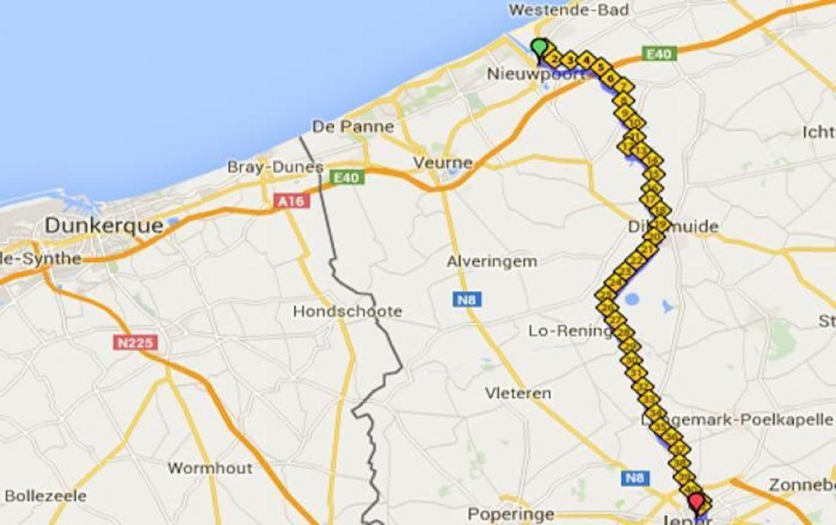 In Flanders Fields-marathon MAPA DEL RECORRIDO DE
