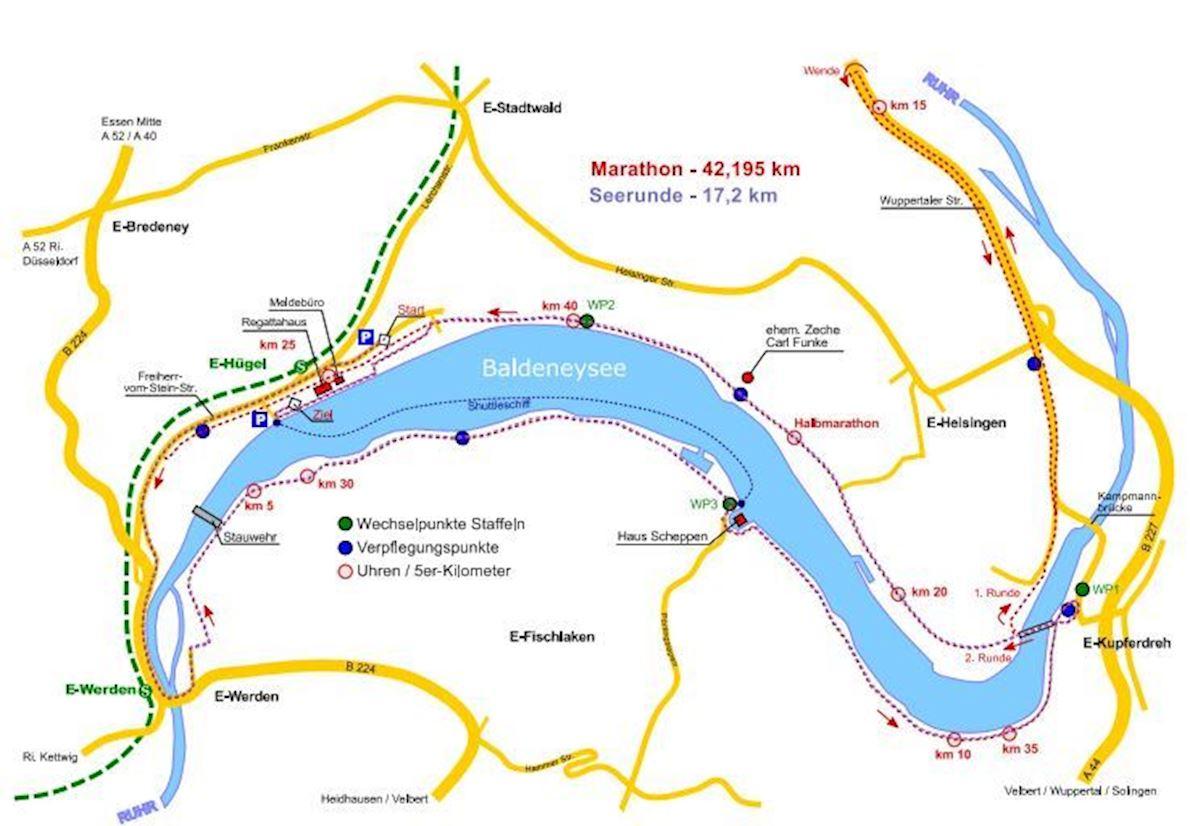 """innogy Marathon """"Rund um den Baldeneysee"""" Route Map"""
