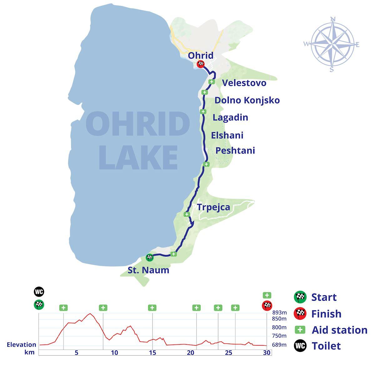 International Athletic Marathon Ohrid 路线图