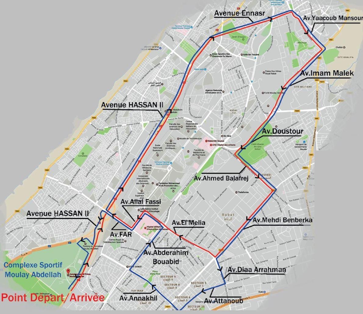 International Marathon of Rabat MAPA DEL RECORRIDO DE