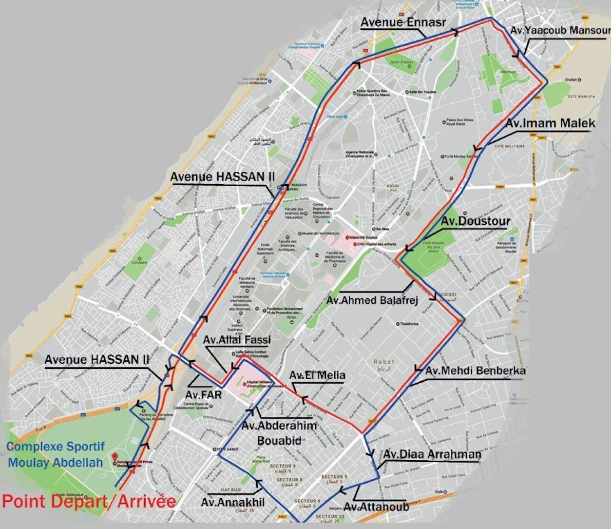 Marathon International de Rabat Route Map