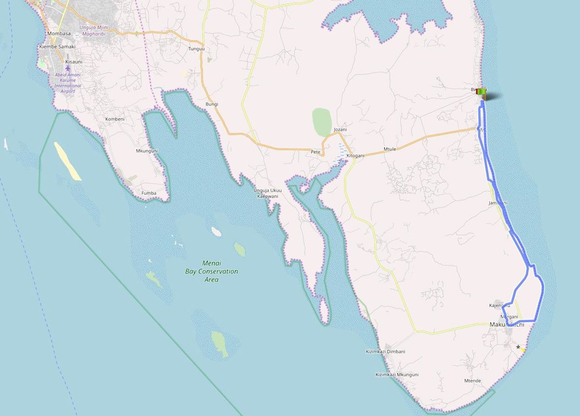 Int'l Marathon Zanzibar SE-Coast ITINERAIRE