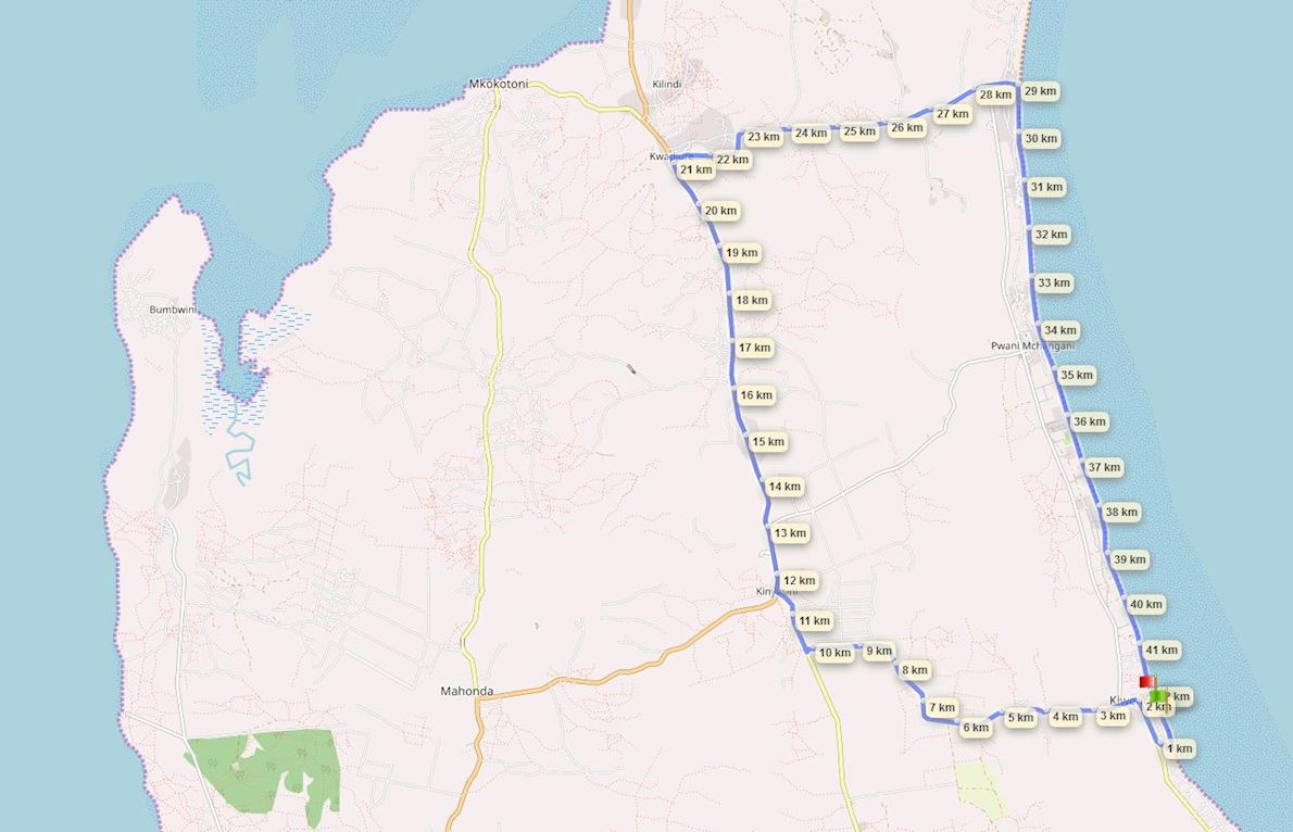 International Marathon Zanzibar North-East Coast Route Map