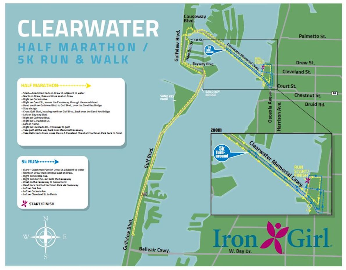 Humana Iron Girl Clearwater Half Marathon and 5K Run and Walk 路线图