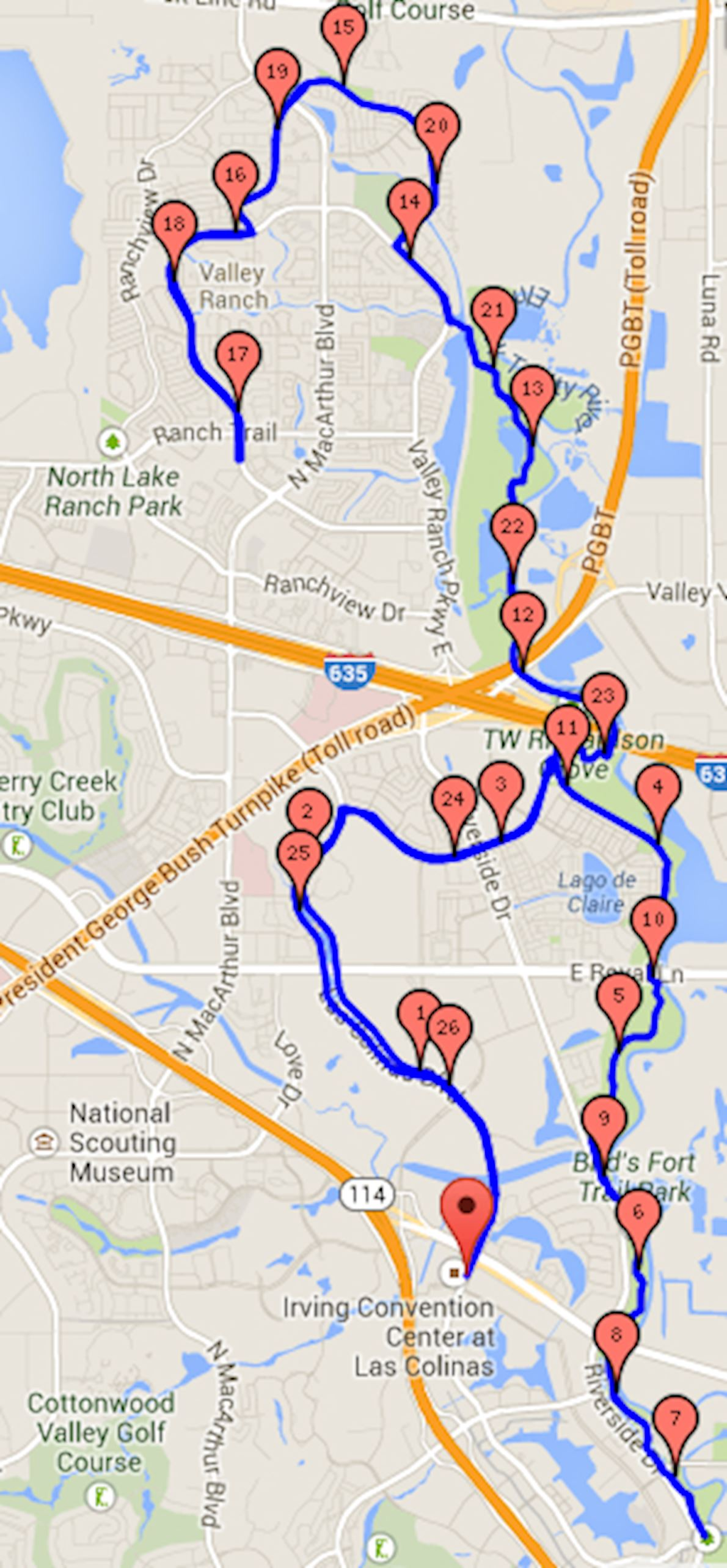 Irving Marathon Route Map