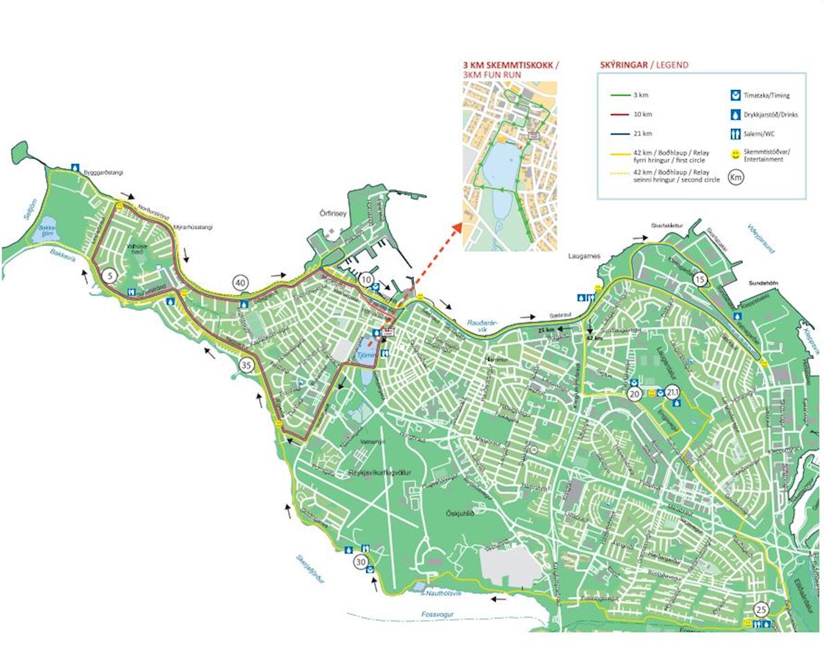 Islandsbanki Reykjavik Marathon Mappa del percorso