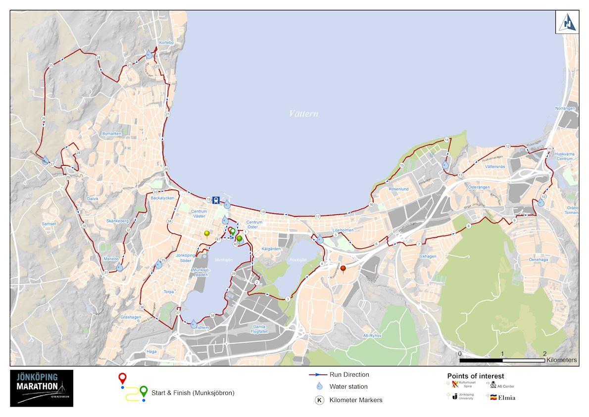 Jönköping Marathon & Half Marathon  Route Map