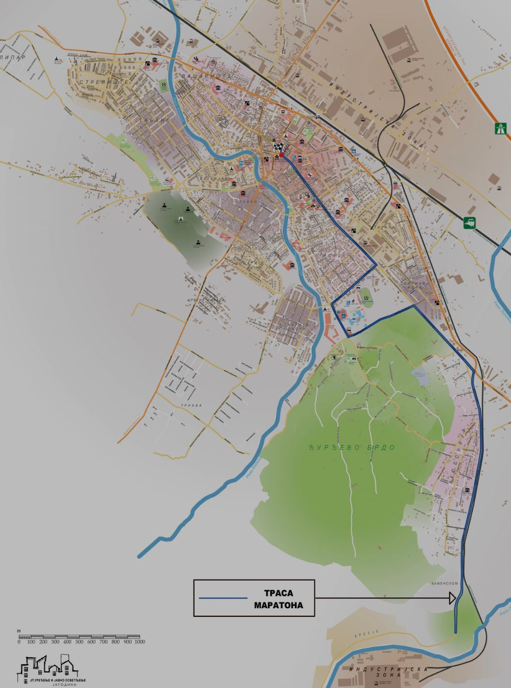 Jagodinski Marathon Mappa del percorso
