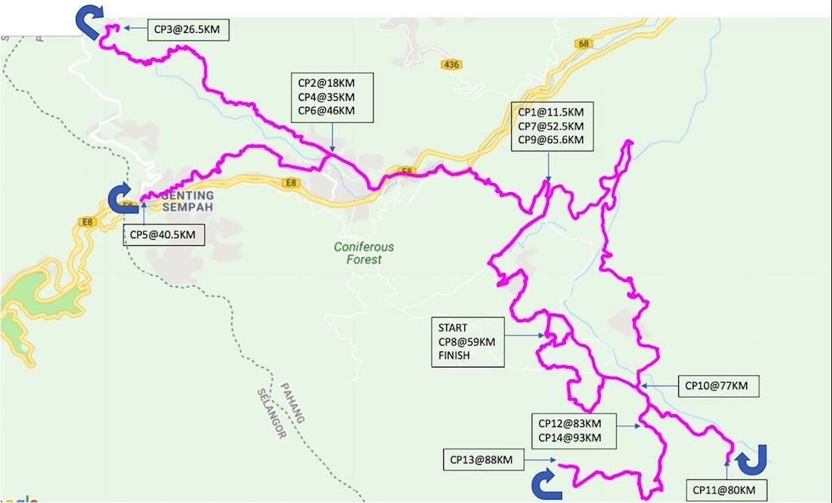 Janda Baik Ultra Mappa del percorso