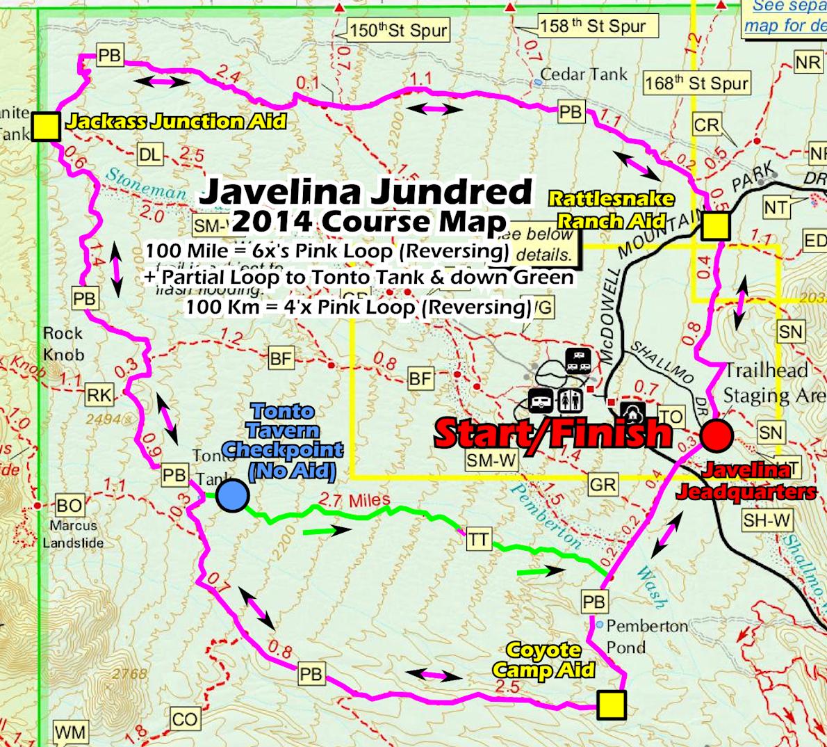 Javelina Jundred 100 Mile Endurance Run Routenkarte