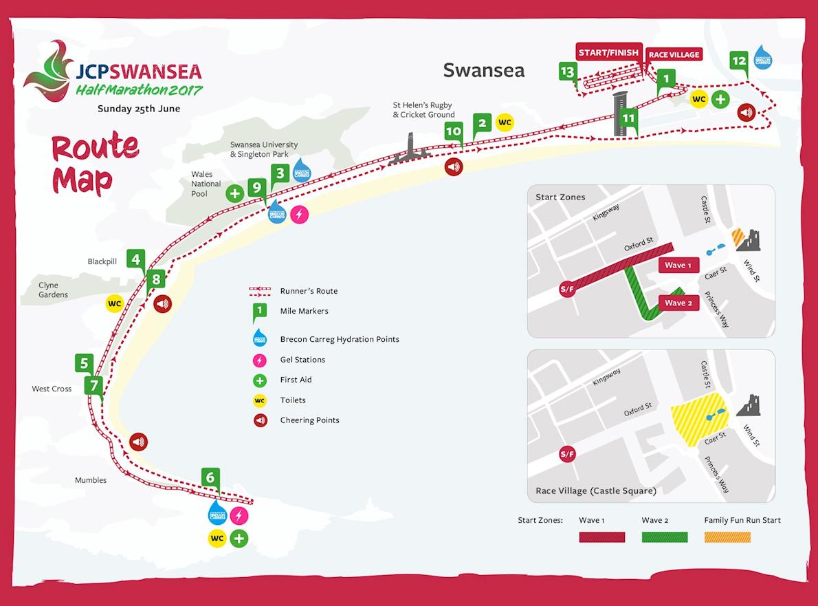 JCP Swansea Half Marathon Routenkarte